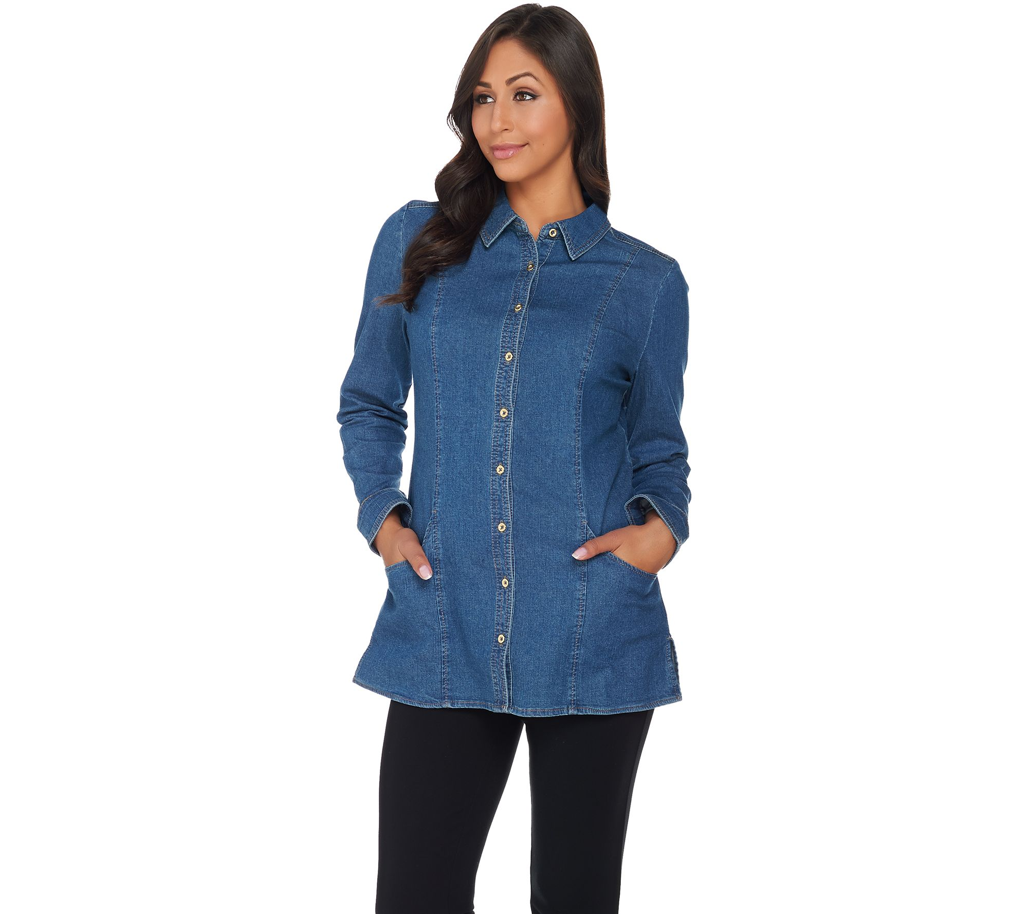 Denim & Co. Button Front Denim Tunic with Pockets - Page 1 ...
