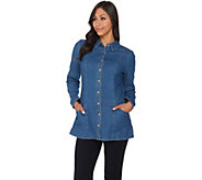 Denim & Co. Button Front Denim Tunic with Pockets - A285891