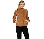 Isaac Mizrahi Live! Suede Flight Jacket - A287091