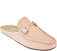 Isaac Mizrahi Live! Leather Mule Moccasins with Hardware - A287191
