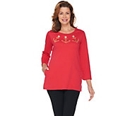 Quacker Factory Anchor Grommet Embroidered Tunic with Pockets - A287291
