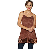 LOGO Layers by Lori Goldstein Printed Cami Tank w/ Velvet Bottom Band - A294691