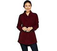Denim & Co. Petite Shawl Collar Long Sleeve Fleece Tunic - A297791