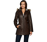 Dennis Basso Quilted Faux Leather Coat w/ Faux Fur Trim Hood - A298291
