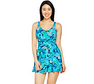 As Is Denim & Co. Beach Ruched Flounce Swim Dress - A300191