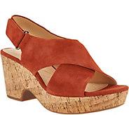 Clarks Artisan Leather Adjustable Wedge Sandals - Maritsa Lara - A303291
