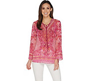 Belle by Kim Gravel Printed Woven V-Neck Tunic with Tassels - A303491