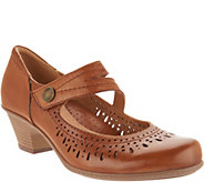 Earth Perforated Leather Heeled Mary Janes - Dione - A304191