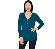 As Is Isaac Mizrahi Live! 2-Ply Cashmere Curved Hem Cardigan - A306591