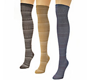 MUK LUKS Womens 3-Pair Over-the-Knee Microfibe r Socks - A337691