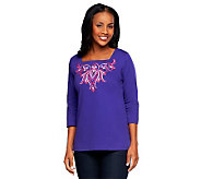 Bob Mackies Square Neck Embroidered 3/4 Sleeve Pullover - A216592