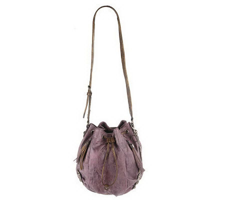KathyVanZeeland Luxury Drawstring Shoulder Bag w/Stud Accents