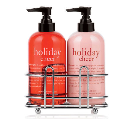 philosophy holiday cheer hand wash & hand lotion duo with caddy 8oz
