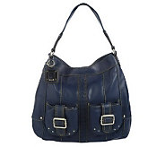 As Is Tignanello Glove Leather Pocket Hobo w/ Braid Accent - A219492