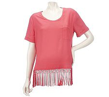 K-DASH by Kardashian Short Sleeve Scoopneck Top with Fringe