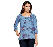 Denim & Co. Perfect Jersey 3/4 Sleeve Button Placket Floral T-shirt - A225592