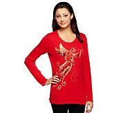 Quacker Factory Good News Angel Long Sleeve Sweater - A229292