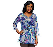 Susan Graver Printed Chiffon Beaded V-Neck 3/4 Sleeve Tunic - A234992
