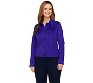 Dennis Basso Stretch Cotton Button Front Multi-seam Jacket - A252592