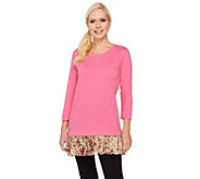LOGO by Lori Goldstein Knit Top with Printed Pleated Trim - A261092