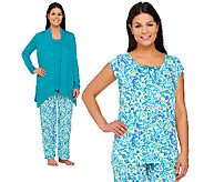Carole Hochman Ultra Jersey Petite Spring Bloom 4 PC Pajama Set - A262492