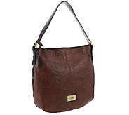As Is Tignanello Glazed Vintage Embossed Leather Hobo - A263292