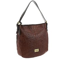 "As Is"" Tignanello Glazed Vintage Embossed Leather Hobo"