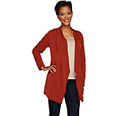 Susan Graver Liquid Knit Long Sleeve Cascade Front Cardigan - A266792
