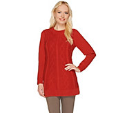 Susan Graver Long Sleeve Jewel Neck Cable Knit Sweater - A267992