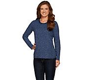 Denim & Co. Herringbone Printed Round Neck Top w/ Velour Trim - A271292