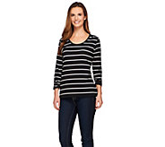 Susan Graver Weekend Yarn Dyed Stripe Stretch Cotton Modal Top - A272392