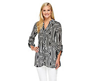 As Is Sunny Leigh Release Pleat Printed Tunic w/ Roll Tab Sleeves - A272492