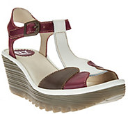 FLY London Leather Adj. T-Strap Wedge Sandals - Yila - A275892