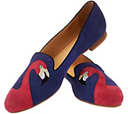 C. Wonder Flamingo Emboidered Suede Loafers - Caroline - A277992