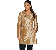 Dennis Basso Water Resistant Metallic Trench with Shirred Seaming Detail - A278692