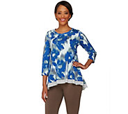 As Is LOGO by Lori Goldstein Printed Knit Top with Heathered Trim - A282592