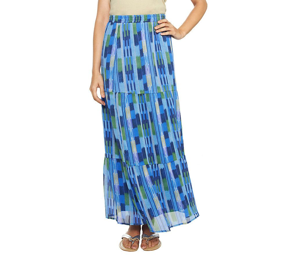 quot as is quot isaac mizrahi live ikat print tiered maxi skirt