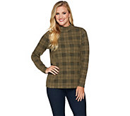 Denim & Co. Plaid Jacquard Mock Neck Long Sleeve Top - A283492
