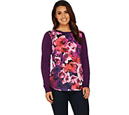 Isaac Mizrahi Live! Photoreal Floral Print Woven Front Sweater - A283792
