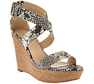 As Is Marc Fisher Leather or Suede Buckle Espadrille Wedges - Haely - A284692