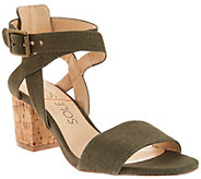 As Is Sole Society Ankle Strap Block Heel Sandals - Zahara - A286492