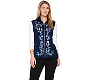 Bob Mackies Floral Embroidered Zip Front Ponte Knit Vest - A286892