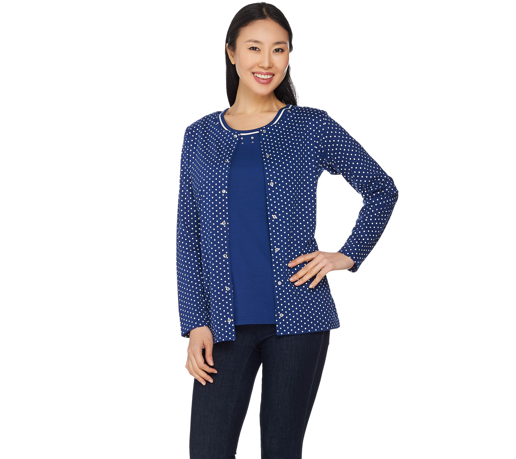 Quacker Factory Polka Dot Long Sleeve Cardigan and Tank Set - Page ...