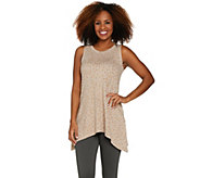 LOGO Lounge by Lori Goldstein French Terry Printed Tank w/ Asymmetric Hem - A288892