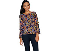 G.I.L.I. Long Sleeve Woven Top w/ Bell Sleeves - A292992