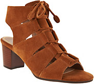 Vionic Suede Lace-up Sandals - Bristol - A293692