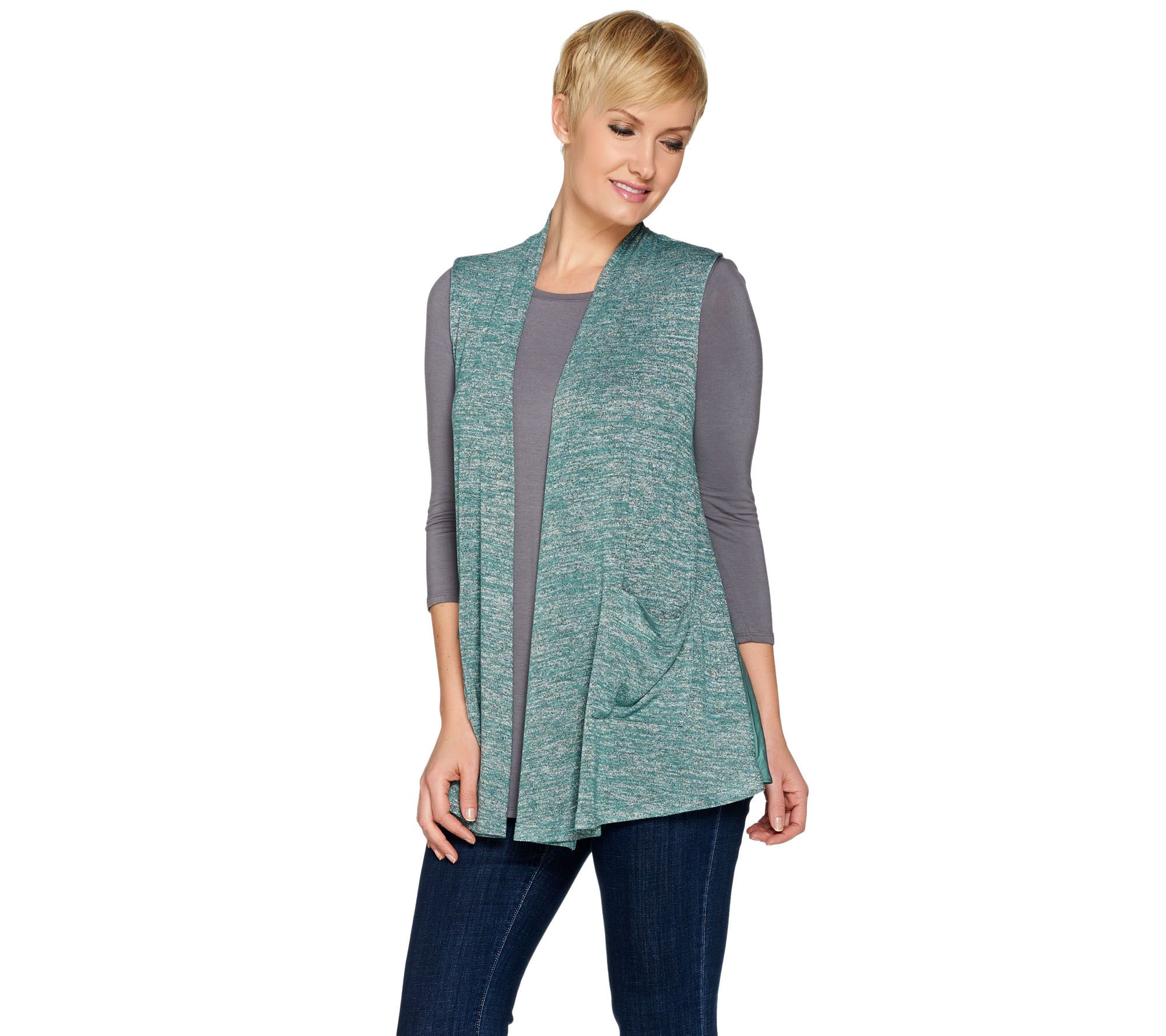 quot as is quot logo by lori goldstein space dye knit vest with satin trim qvc com