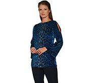 Susan Graver Printed Burnout Velvet Split Sleeve Tunic - A297692