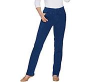 Denim & Co. Petite Comfy Denim Smooth Waist Straight Leg Jeans - A301692