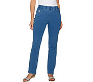 As Is Quacker Factory DreamJeannes Pull-On Strght. Leg Pants - A302992